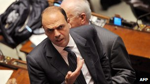Angelino Alfano in parliament, April 2011