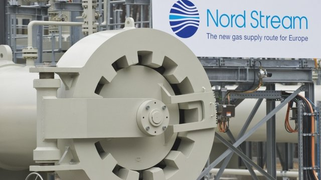 View of the gas pipeline prior to an inaugural ceremony for the first of Nord Stream's twin 1,224 kilometre gas pipeline