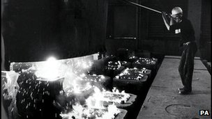 Steel mill worker file picture