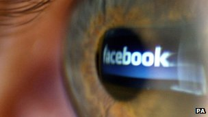 Facebook logo in an eyeball