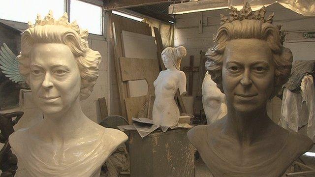 Two busts of Queen Elizabeth II