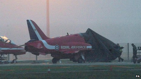 BAE Systems Hawk jet with its cockpit covered on the ground at RAF Scampton in Lincolnshire