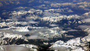 The Rocky Mountains seen from the air
