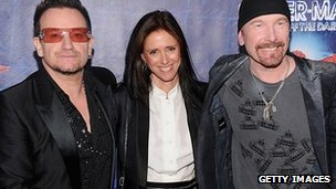 Julie Taymor (centre) with U2&#039;s Bono and the Edge