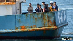 The Chinese fishing boat in Nagasaki port on 7 November 2011
