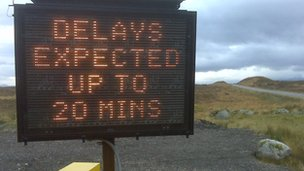 Warning sign near the filming on the A82. Pic: Brian Ashman