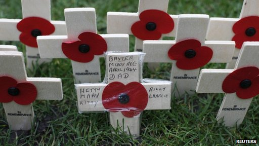 A field of crosses for Remembrance Day