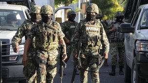 Marines patrol the streets of Veracruz on 6 October 2011