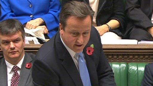 David Cameron at the despatch box