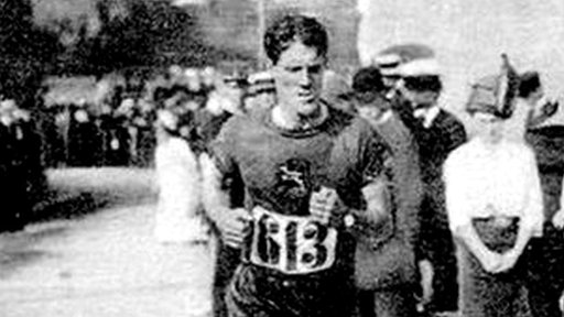 Kennedy Kane McArthur running the Olympic marathon in Stockholm in 1912