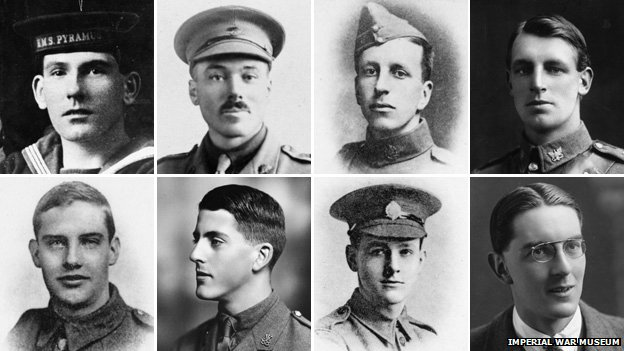 Clockwise from left:  Stoker Petty Officer Harold Jordan, Major James Harcus, 2 Lieutenant Maurice Sharpe, Sergeant George Tinsley Thompson, Private Thomas Newton, 2 Lieutenant John Homfray Addenbrooke, Lance Corporal Adams, 2 Lieutenant Ernest Bertram Nelson