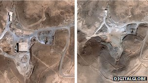 Suspected nuclear facility site in Syria before and after a suspected Israeli air strike on 6 September 2007