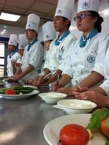 Chef-class at Woonmo's vocational high school, Koo Woonmo second from right.