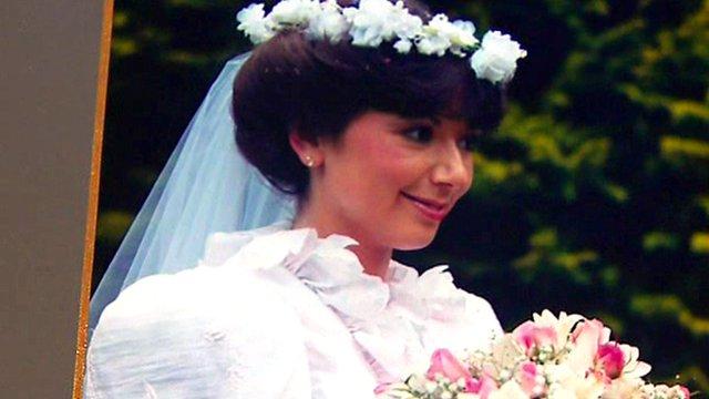 Gillian Stewart in wedding dress Please turn on JavaScript