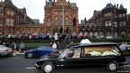 Sir Jimmy's hearse passes Leeds General Infirmary