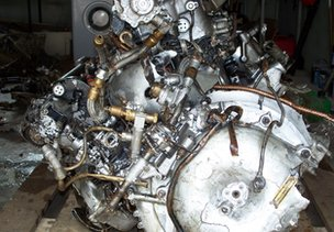 Rolls Royce Merlin engine, after steam cleaning