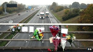 Flowers on M5 bridge