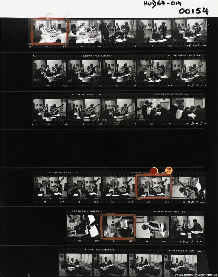 Contact sheet: The Beatles, Abbey Road Studios, London. 1964