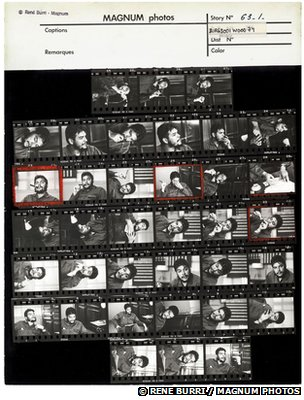 Rene Burri's contact sheet of pictures of Che Guevara