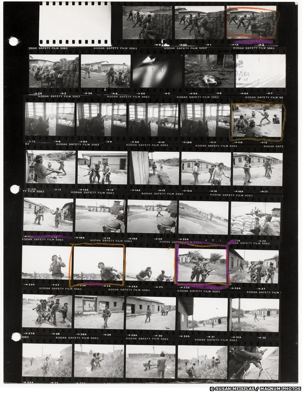 Susan Meiselas contact sheet from Nicaragua, 1979