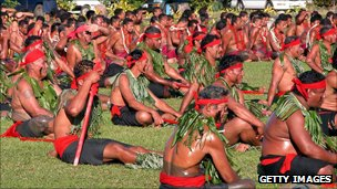 Samoan matai, or chiefs, attend a ceremony