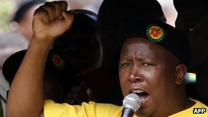 Former Youth wing leader Julius Malema of the ruling African National Congress (ANC) takes part on October 27, 2011 in a demonstration to demand jobs and a greater share of South Africa&#039;s riches in Johannesburg on October 27, 2011.