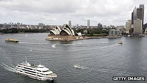 Sydney harbour with the landmark opera house