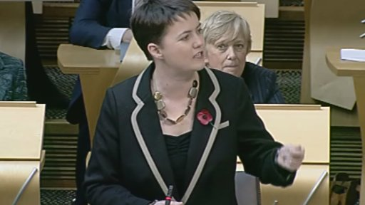 Scottish Conservative leader Ruth Davidson questions Alex Salmond