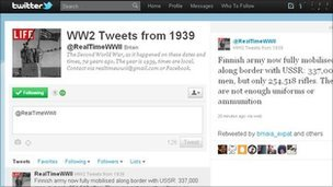 Screen grab of @realtimeWWII