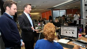 Prime Minister David Cameron at internet firm Stylist Pick