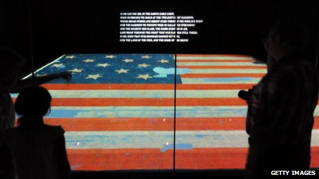 The original start-spangled banner on display in the Smithsonian