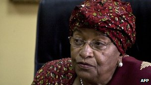 Ellen Johnson Sirleaf speaks to journalists in Monrovia, Liberia - 10 November 2011