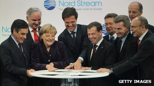 German President Angela Merkel and Russian President Dmitry Medvedev start the Nordstream pipeline