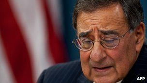 Leon Panetta warns of the risks of a strike on Iran at a Pentagon press conference on 11 November 2011