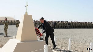 Defence Secretary Philip Hammond laid a wreath at the British base at Camp Bastion in Afghanistan