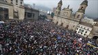 Huge crowd of protesters in Bogota's main square