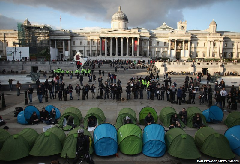 Tents erected in Trafalgar Square during student protests in London