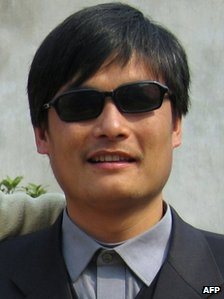 Chen Guangcheng outside his house in Shandong province
