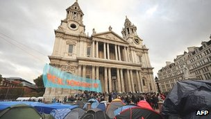 The Occupy London protest camp outside St Paul's Cathedral