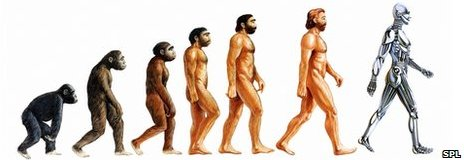 'Evolution of Man ending with Artificial intelligence
