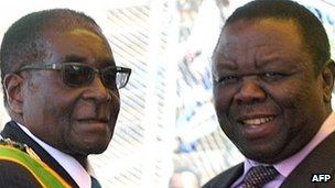 Robert Mugabe (l) and Morgan Tsvangirai (r)