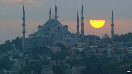 The Blue Mosque in Istanbul at sunset