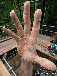 The hand sculpture