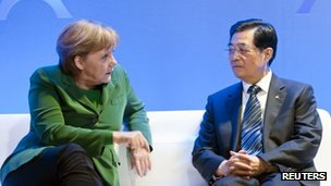 German Chancellor Angela Merkel and Chinese President Hu Jintao