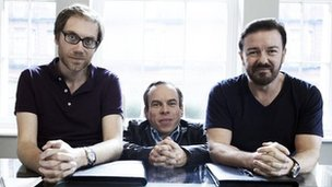 Stephen Merchant, Warwick Davis and Ricky Gervais in Life&#039;s Too Short