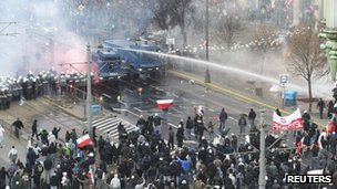 Police use water cannon against demonstrators on Poland&#039;s Independence Day - 11 November 2011