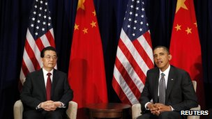 President Obama and Chinese President Hu Jintao at the APEC Summit in Honolulu on 12 November 2011.