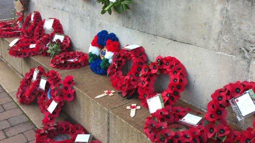 Poppy wreaths at Cardiff memorial