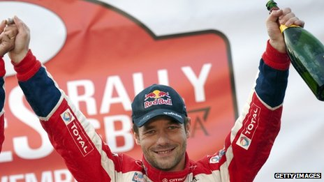 Sebastien Loeb later claimed his prize at Cardiff Castle