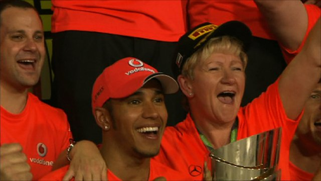 Lewis Hamilton celebrates with his mother